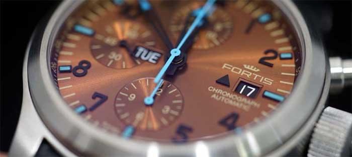 Мужские наручные часы Fortis Blue Horizon - цена - обзор - хронограф