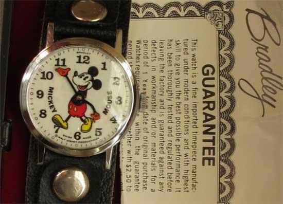 Часы марки Bradley с Микки Маусом (швейцарский часовой механизм с 1 камнем) - 1972 год